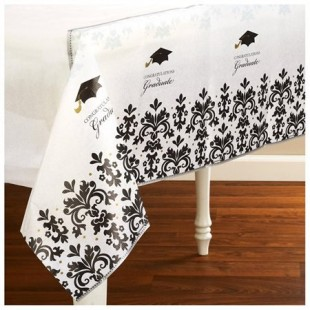 Buy Black And White Grad Paper Table Cover Nappe in Kuwait