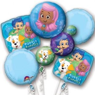 Bubble Guppies Foil Mylar Balloon Bouquet (5pc) in Kuwait