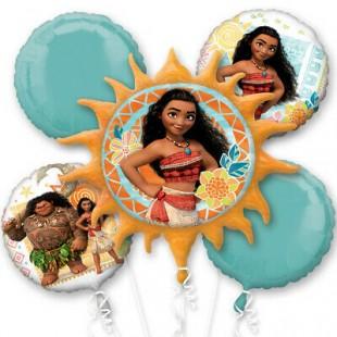 Disney Moana Themed 5pc Happy Birthday Supershape Foil Balloon Bouquet in Kuwait