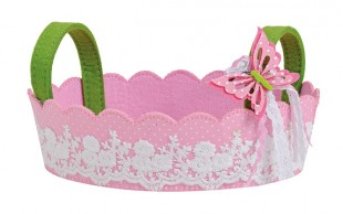 Buy Felt Basket With Butterfly And Handle Pinks in Kuwait