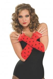 Fingerless Red Glovelets Wth Blk Star in Kuwait