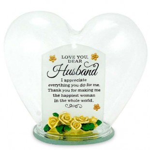 Buy Glass Heart Quotation- Love You Dear Husband in Kuwait