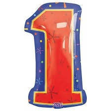 Number 1 Multi- Color Junior Shape Balloon 20