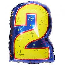 Number 2 Multi- Color Junior Shape Balloon 20