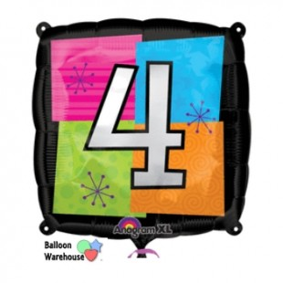 Number 4 – Black Square Background – Foil Balloon in Kuwait