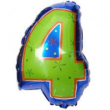Number 4 Multi- Color Junior Shape Balloon 20