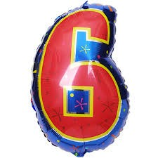 Number 6 Multi- Color Junior Shape Balloon 20