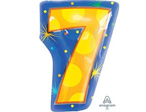Number 7 Multi- Color Junior Shape Balloon 20