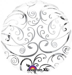 Round White And Silver Foil Balloon 180207 in Kuwait