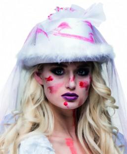 White Hat Horror Bride With Veil in Kuwait