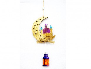 Wooden Hanging Decoration - Moon & Fanoos in Kuwait